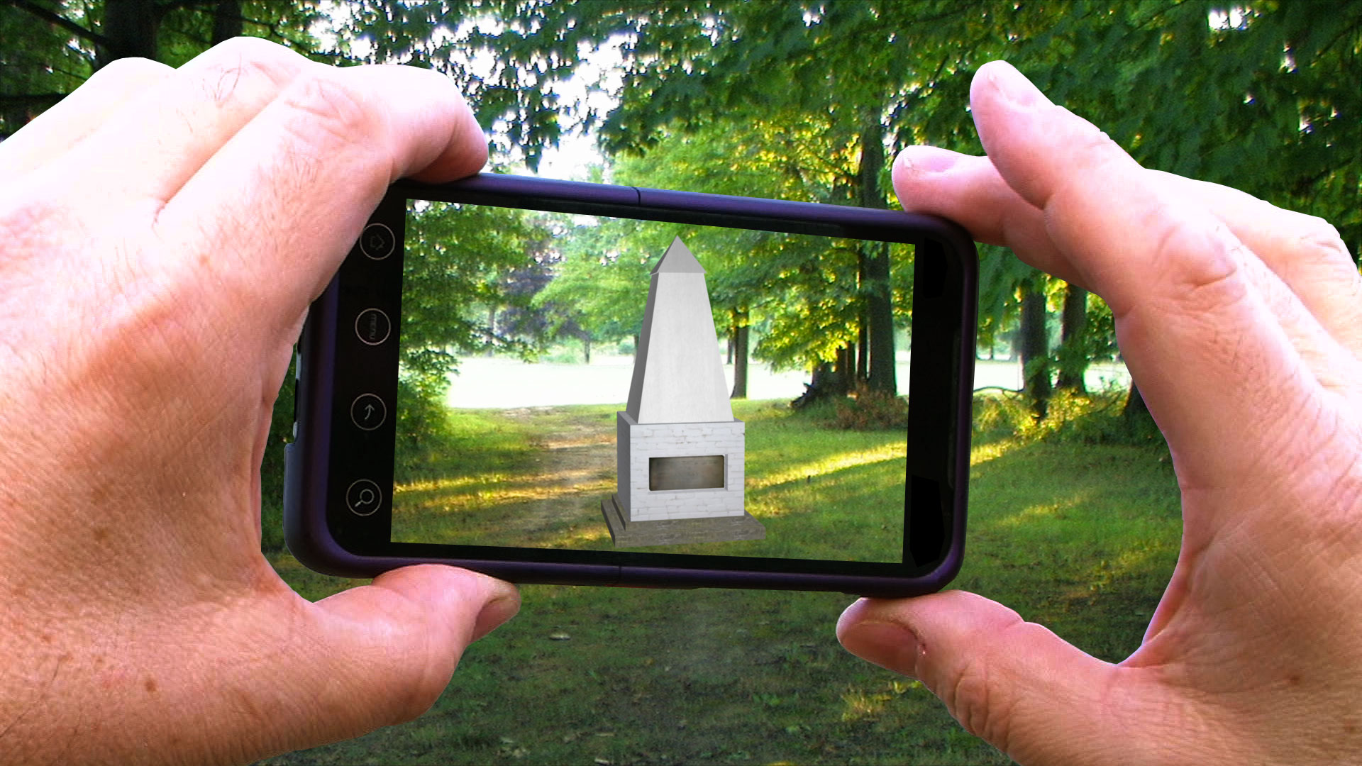 The Ararat Cornerstone Monument as viewed through a smart phone mobile device, 2012.