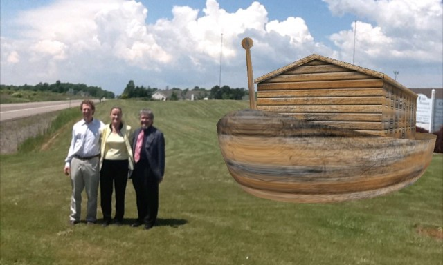 Rabbis Alex Lazarus-Klein,  Irwin Tanenbaum, and Cantor Sharon Colbert visit Ararat's Noah's Ark Theme Park.